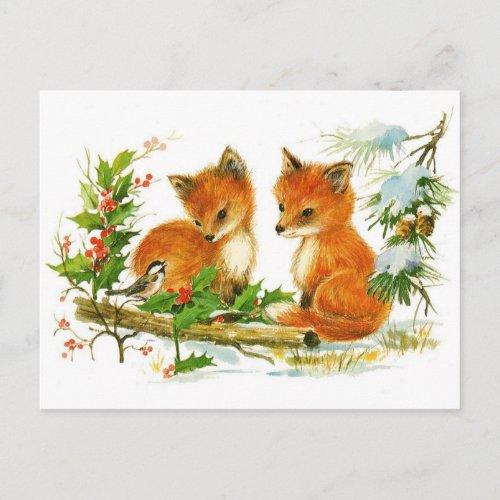 Cute Vintage Fox Christmas Scene Holiday Postcard