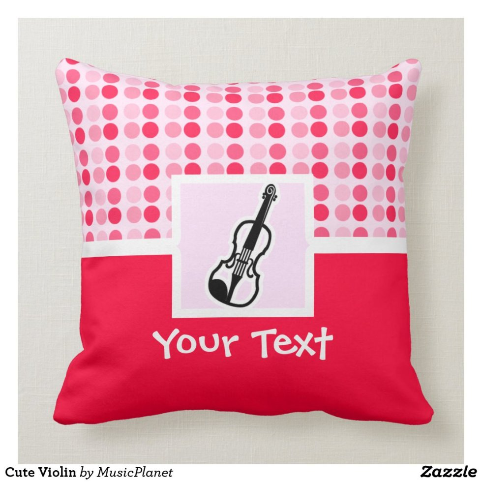 Cute Violin Throw Pillow