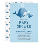 Cute Watercolor Blue Whale | Boy Baby Shower Invitation