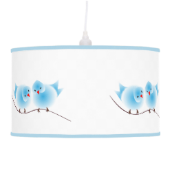 Cute Whimsical Fluffy Blue Love Birds Lamps