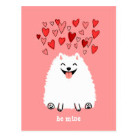 Cute White Pomeranian Valentine Be Mine Postcard