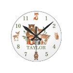 Cute Woodland Animals Bear Deer Fox Owl Numeral Round Clock