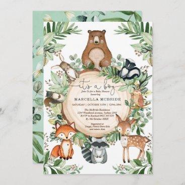 Cute Woodland Animals Rustic Greenery Baby Shower Invitation