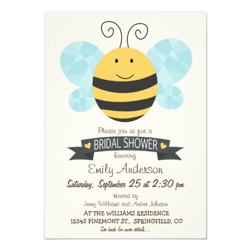 Cute Yellow & Black Bee Bridal Shower Invitation