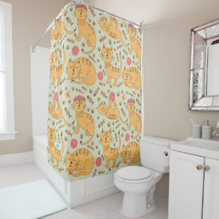 Cute Yellow Cats  Shower Curtain