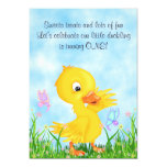 Cute Yellow Duckling and Butterflies 1st Birthday Invitation