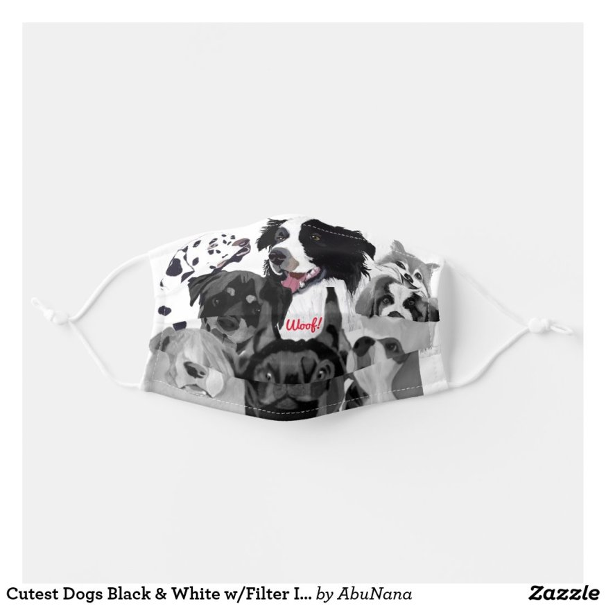Cutest Dogs Black & White w/Filter Insert Adult Cloth Face Mask