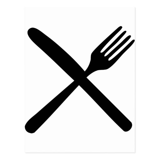 cutlery fork and knife crossed postcard Zazzle