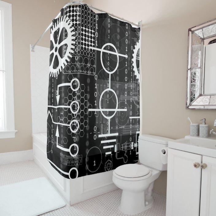 cyberpunk tech geek gear electronic engineer math shower curtain zazzle com
