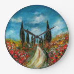 CYPRESS TREES AND POPPIES  IN TUSCANY ROUND LARGE CLOCK