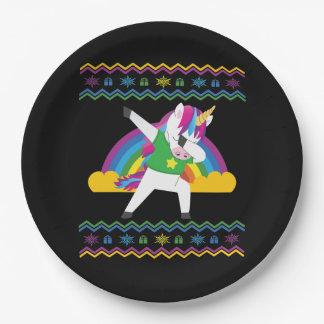 Dabbing Unicorn Rainbow Ugly Christmas Sweater Paper Plate