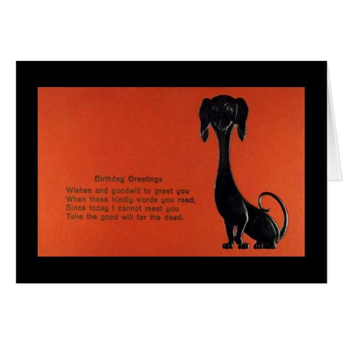 Dachshund Dog Birthday Vintage Greeting Card