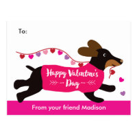 Dachshund Dog School Valentine Exchange Postcard