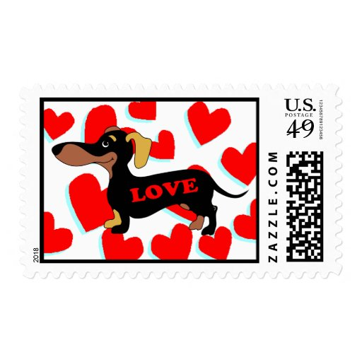 Dachshund Valentines Day Card Postage Stamp Zazzle