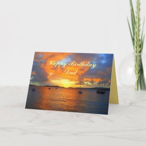 Dad Happy Birthday Sailboats at Golden Sunset card