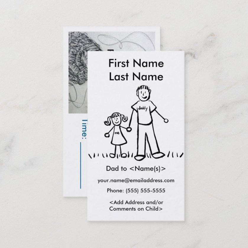 Daddy and Daughter Custom Calling Playdate Cards