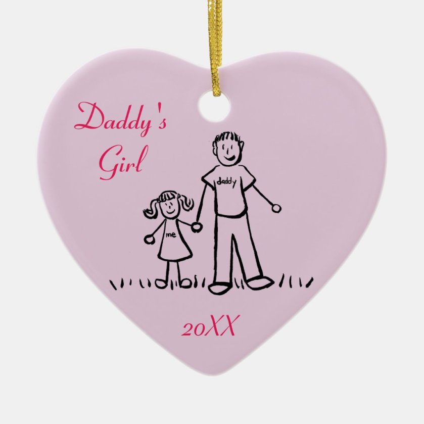 Daddy's Girl Family Character Art Custom Ornament