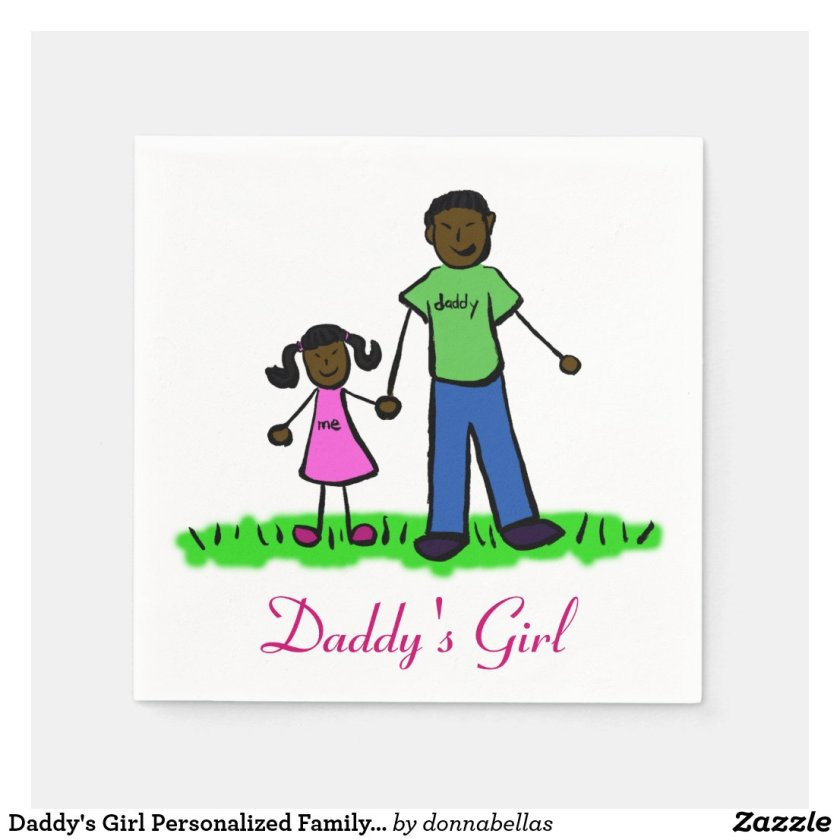 Daddy's Girl Personalized Family Art Napkin