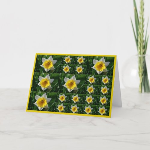 Daffodils Tic Tac Toe Greeting Card for Cancer Pat card