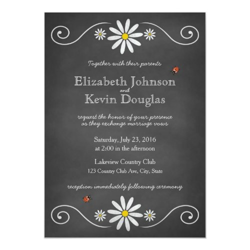 Daisies and Ladybugs Rustic Chalkboard Wedding Card