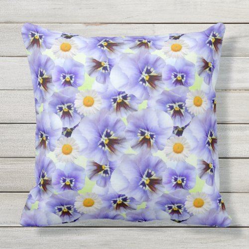 Daisies and Pansies Throw Pillow
