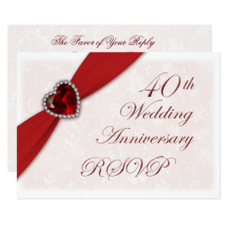 Simple Vertical Card Without Patterns Surprise Red Silver Gray Photo Birthday Invitation Idea 40th Wedding Anniversary