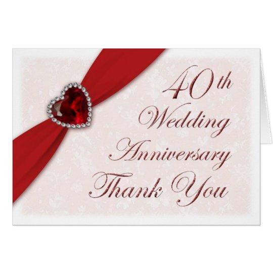 Damask 40th Wedding Anniversary Thank You Card  Zazzlecom