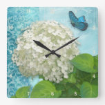 Damask Blue Butterfly on White Hydrangea Vintage Square Wall Clocks