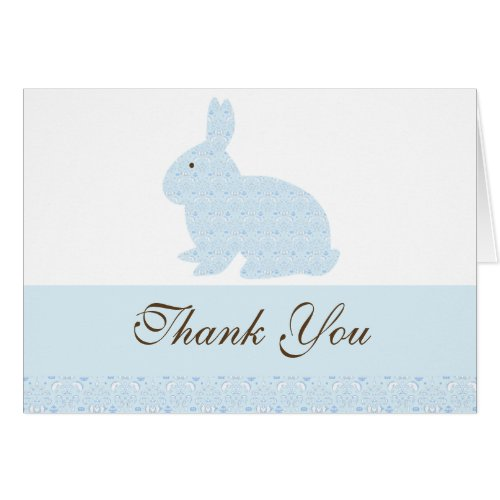 Damask Bunny Rabbit Baby Shower Thank You