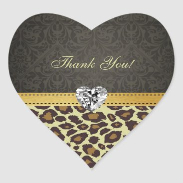 Damask Monogram Leopard Thank You Stickers