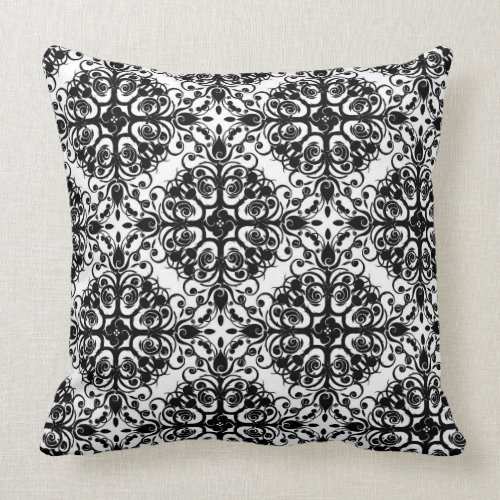 Damask Pattern Throw Pillow/Black and White Throw Pillow