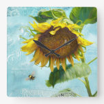 Damask Vintage Modern Sunflower w Bumble Bees Art Square Wallclocks
