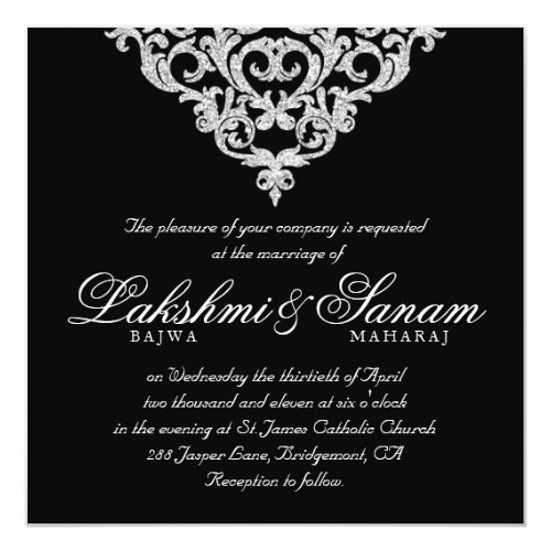 Damask Wedding Invite Diamond Sparkle Silver Lace