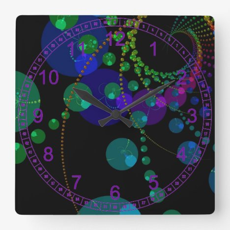 Dance of the Spheres II – Abstract Cosmic Indigo Square Wall Clock