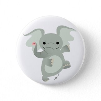 Dancing Cartoon Elephant Button Badge button
