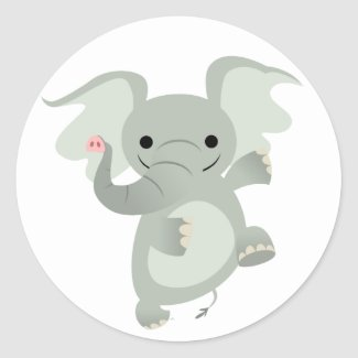 Dancing Cartoon Elephant Sticker sticker