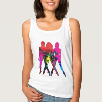 Dancing People Abstract Colors Tee