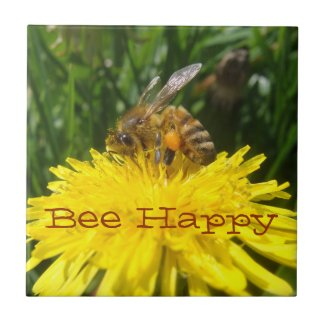 Dandelion Bee Happy Small Square Tile
