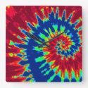 Dark Blue and Red Tie Dye Clock
