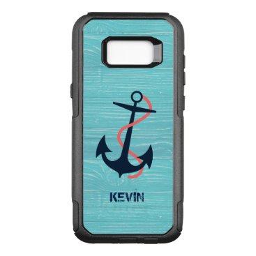 Dark Blue Boat Anchor On Blue Wood Texture OtterBox Commuter Samsung Galaxy S8  Case