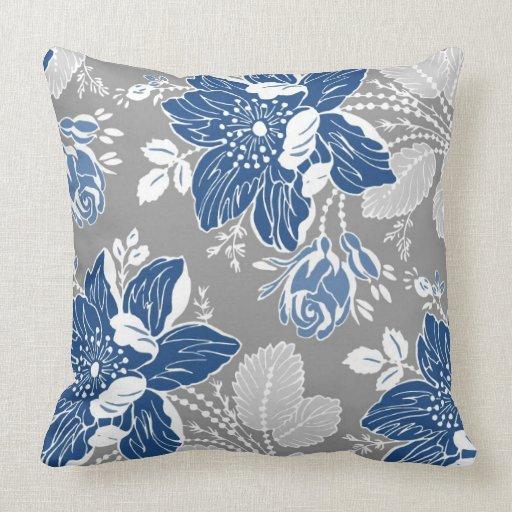 Dark Blue Gray White Floral Decorative Pillow  Zazzle