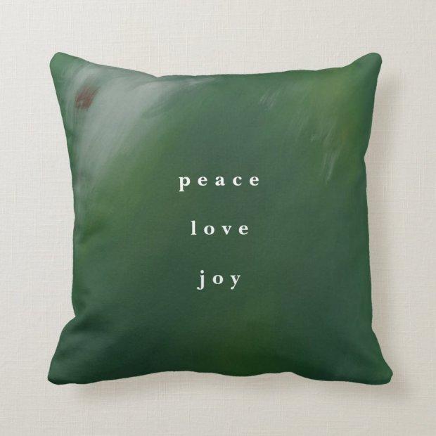 Dark Blue-Green Hand-Painted Christmas Throw Pillow