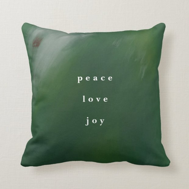 Dark Blue-Green Hand-Painted Christmas Throw Pillow