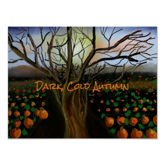 Dark Brown Cold Feelings Acrylic Painting Autumn Poster