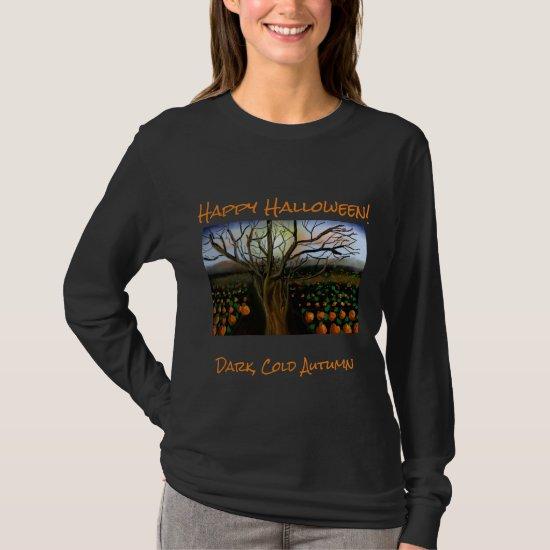 Dark Brown Cold Feelings Acrylic Painting Autumn T-Shirt
