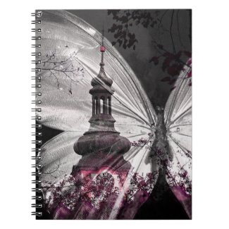 Dark Butterfly Wing Clock Tower Notebook