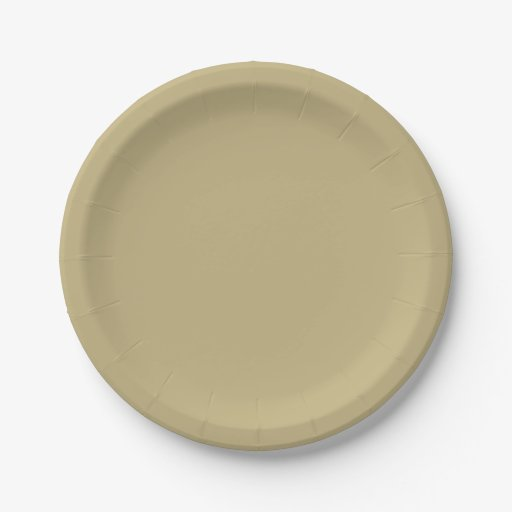Dark Champagne Solid Color Paper Plate