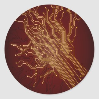 Dark Circuit Board Classic Round Sticker