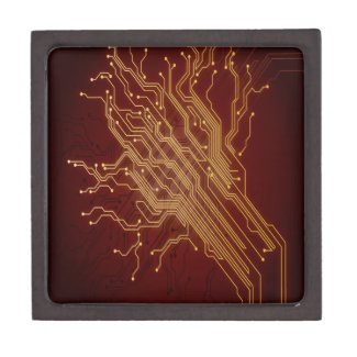 Dark Circuit Board Premium Keepsake Boxes