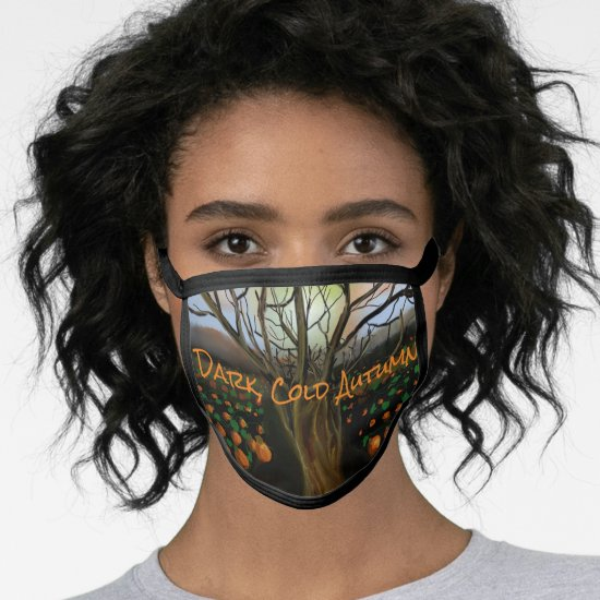 Dark Cold Pumpkin Patch Acrylic Painting Landscape Face Mask
